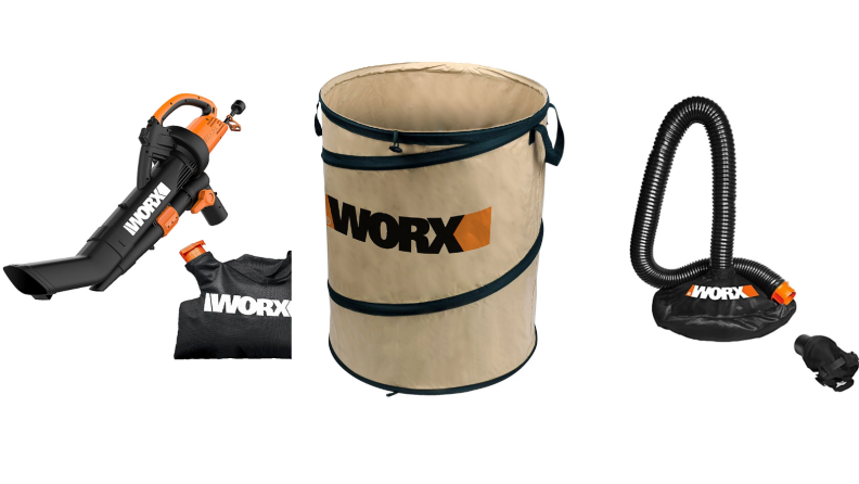 Worx leaf collection items on white background