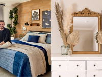 On left, Bobby Berk smiling sitting in bedroom on top of navy and cream bedspread. On right, gold mirror sitting on top white dresser next to different sized tan palm fronds.