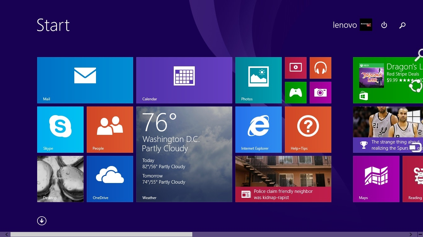 A screenshot of the Lenovo Yoga 2 11's software.