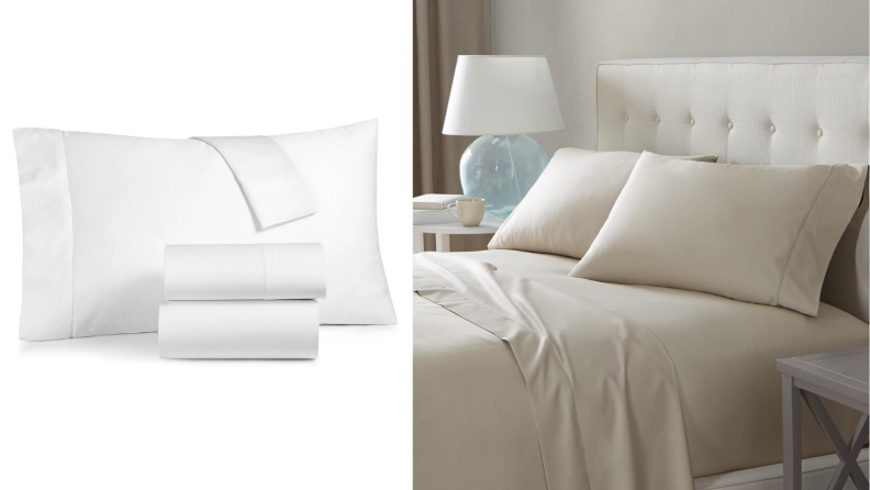 On the left, a set of white sheets. On the right, a beige sheet set made on a bed.