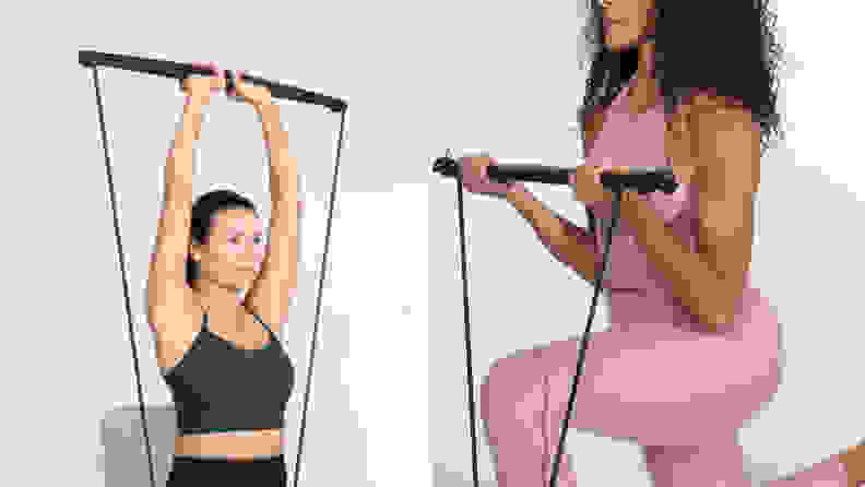 Women using the Bodygym for tricep presses and bicep curls.