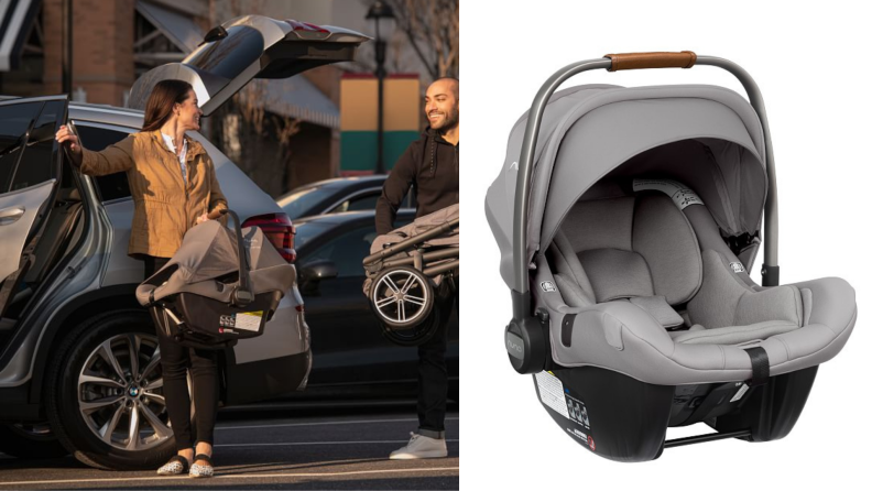On left, person smiling while removing car seat from car. On right, gray car seat on white background.