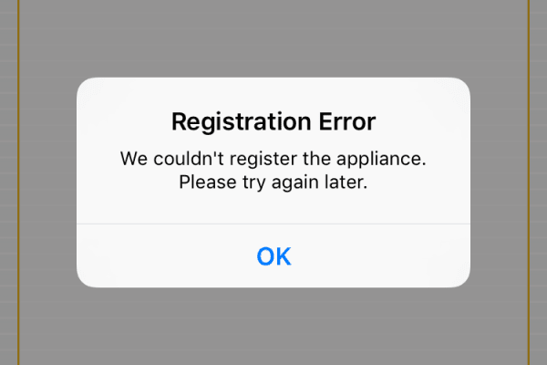 Whirlpool App registration error