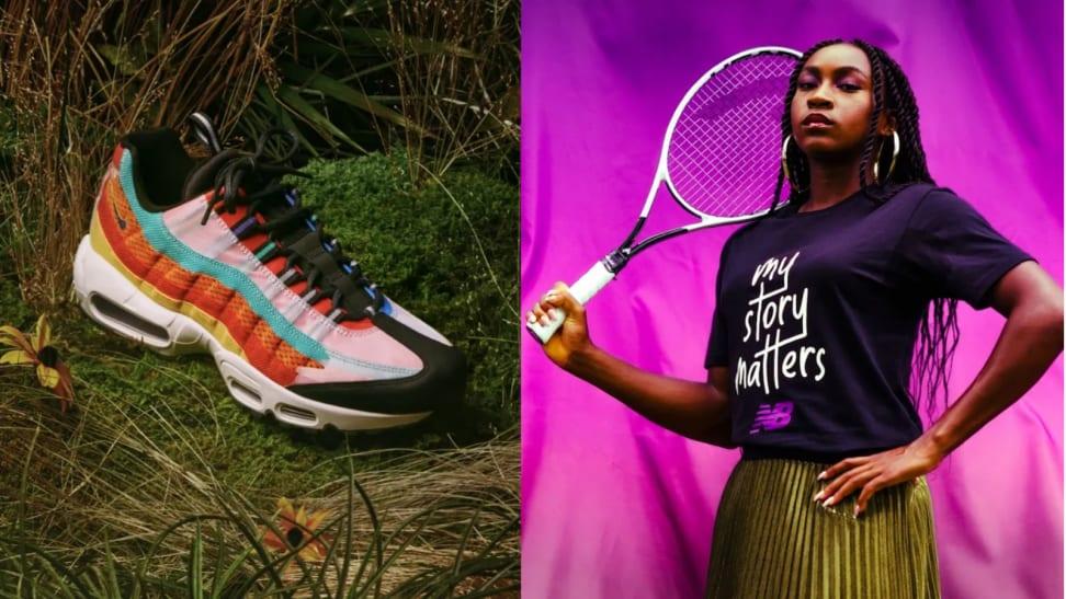 A shoe next to a women holding a tennis racket