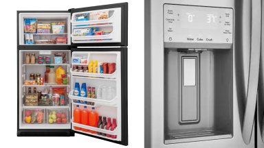 An image of an open fridge full of food alongside an image of an exterior ice-dispenser on a different fridge.
