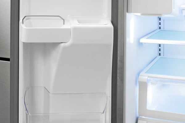 Left-hand door storage is limited due to the Kenmore 70343's ice dispenser chute.
