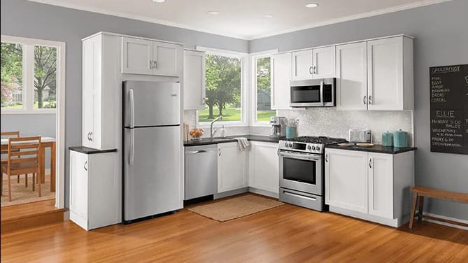 The Frigidaire FFGH3054 range looks beautiful in a modern white kitchen.