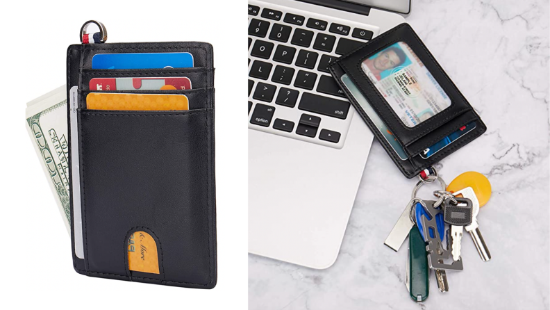 Black ID holder filled with cash, credit cards, and a photo ID. Picture on Right shows the ID holder with a set of keys attached.