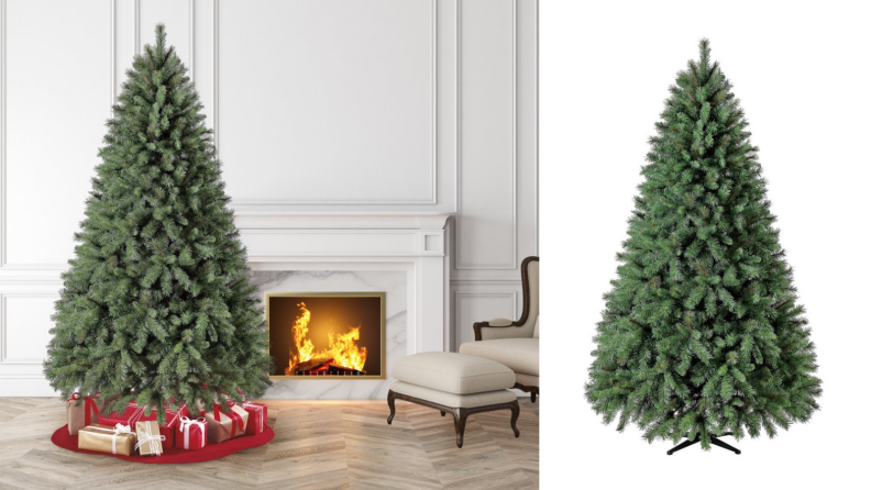 An image of a fake Christmas tree beside a fireplace alongside an image of that same tree on a white background.