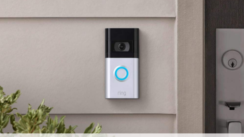 A Ring doorbell installed outside a front door.