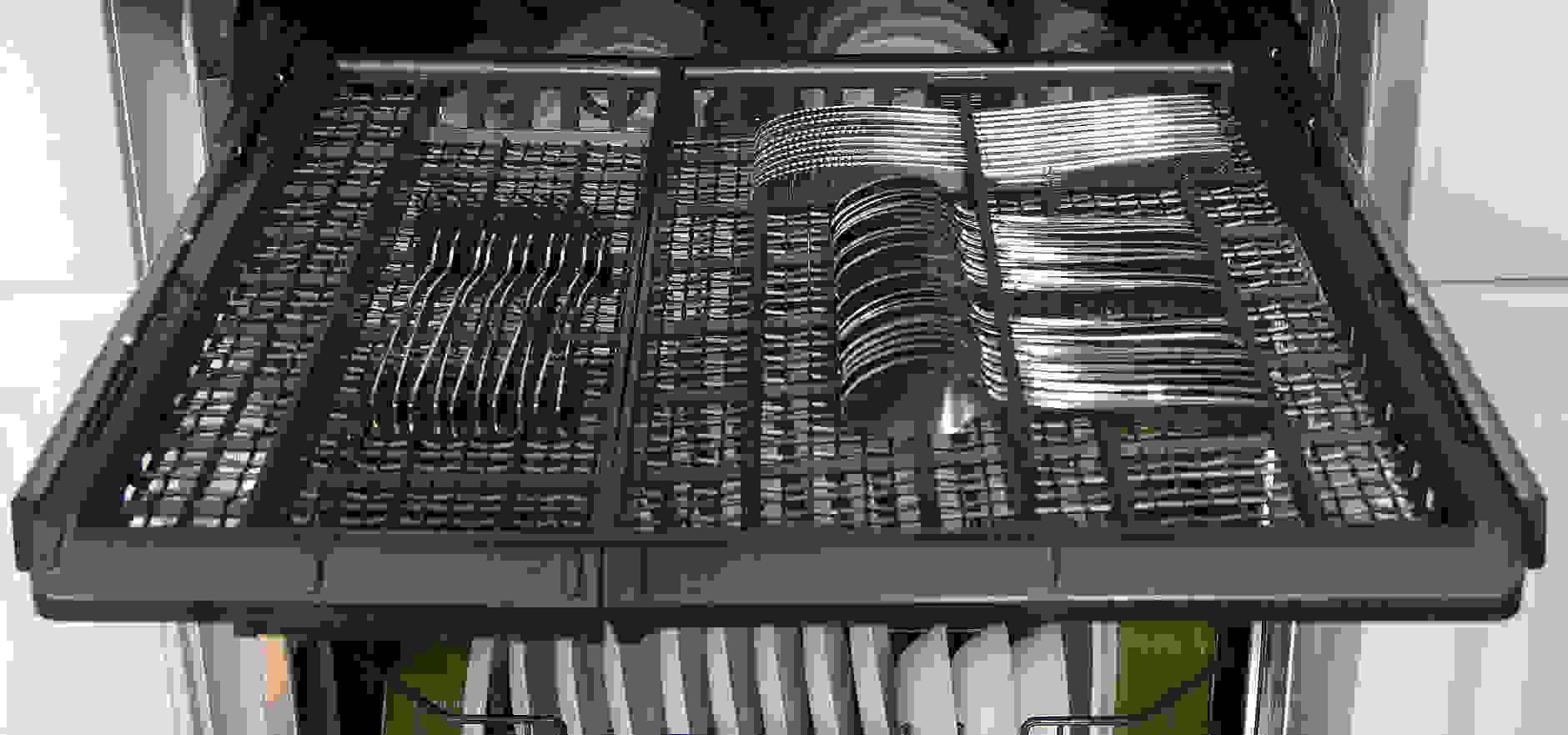GE Monogram ZDT870SSFSS Cutlery Tray loaded with silverware