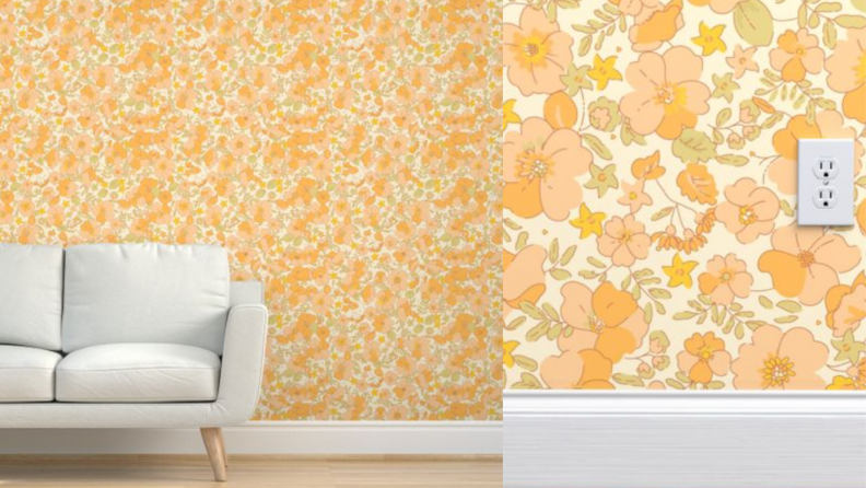 An orange, yellow and pink muted floral wallpaper with a white couch.