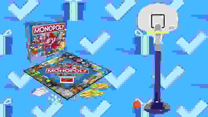 Monopoly Super Mario Celebration Edition Board Game and Little Tikes Adjust 'n Jam Pro Basketball Set