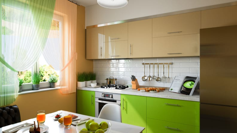 Green-kitchen-cabinets