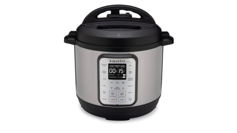 An image of an Instant Pot Duo Plus pressure cooker on a white background.
