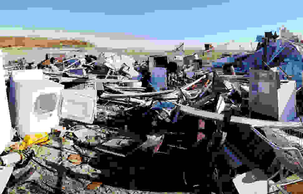 Appliances in a scrapyard