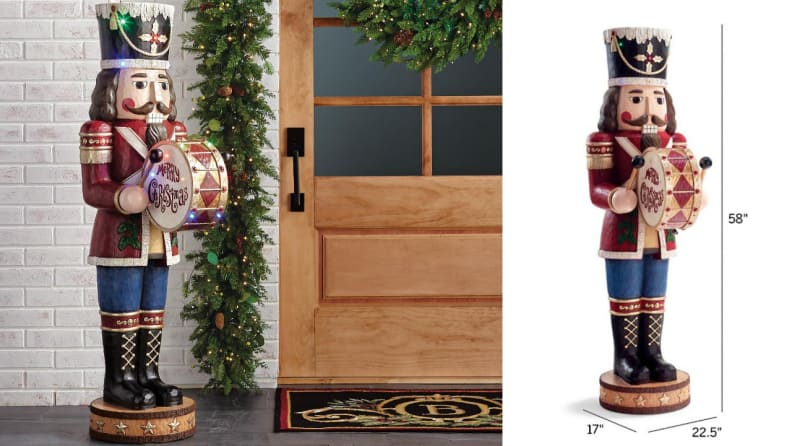 Let this nutcracker greet guests by the door during your holiday parties.