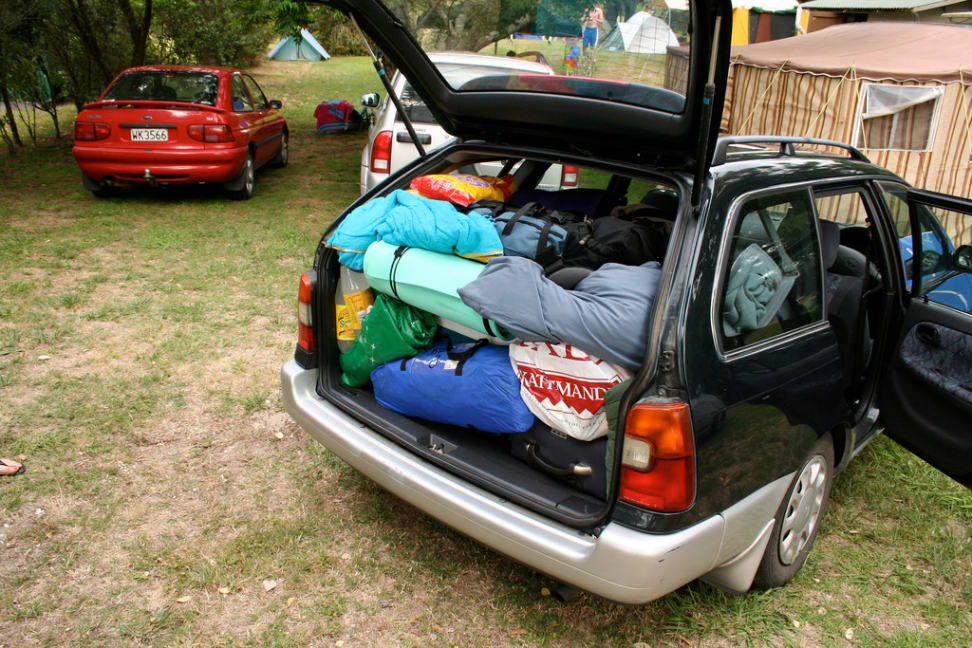 A car packed up for a road trip