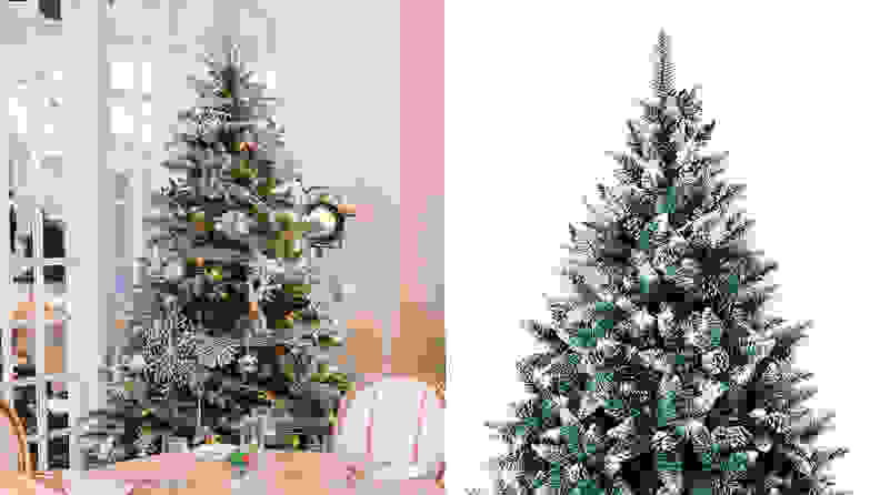 3. Senjie Artificial Christmas Tree with Flocked Snow and Pine Cones