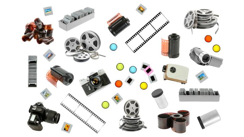 An assortment of retro film photography equipment.