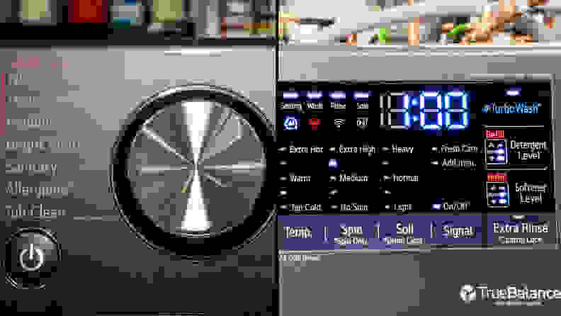 A composite image. In the left half, we see the cycle selection dial. The right half is a close-up of the touch controls.