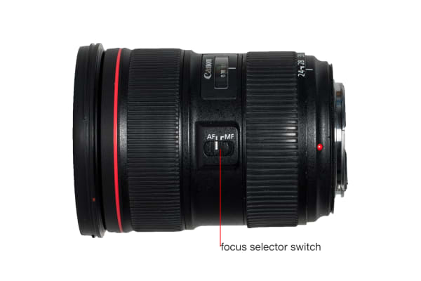 A side view of the EF 24-70mm f/2.8L II USM.