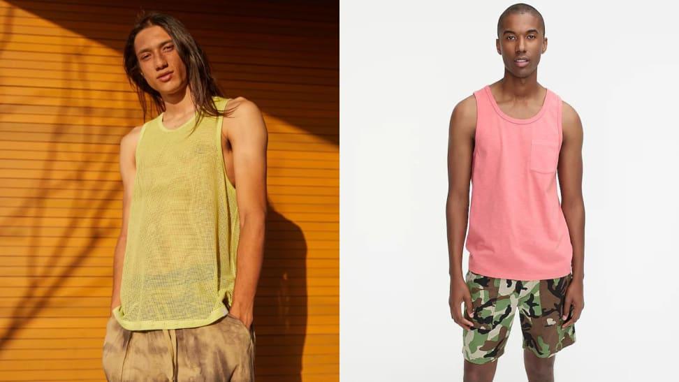 man wearing yellow mesh tank top from Urban Outfitters, man wearing pink tank top from J.Crew
