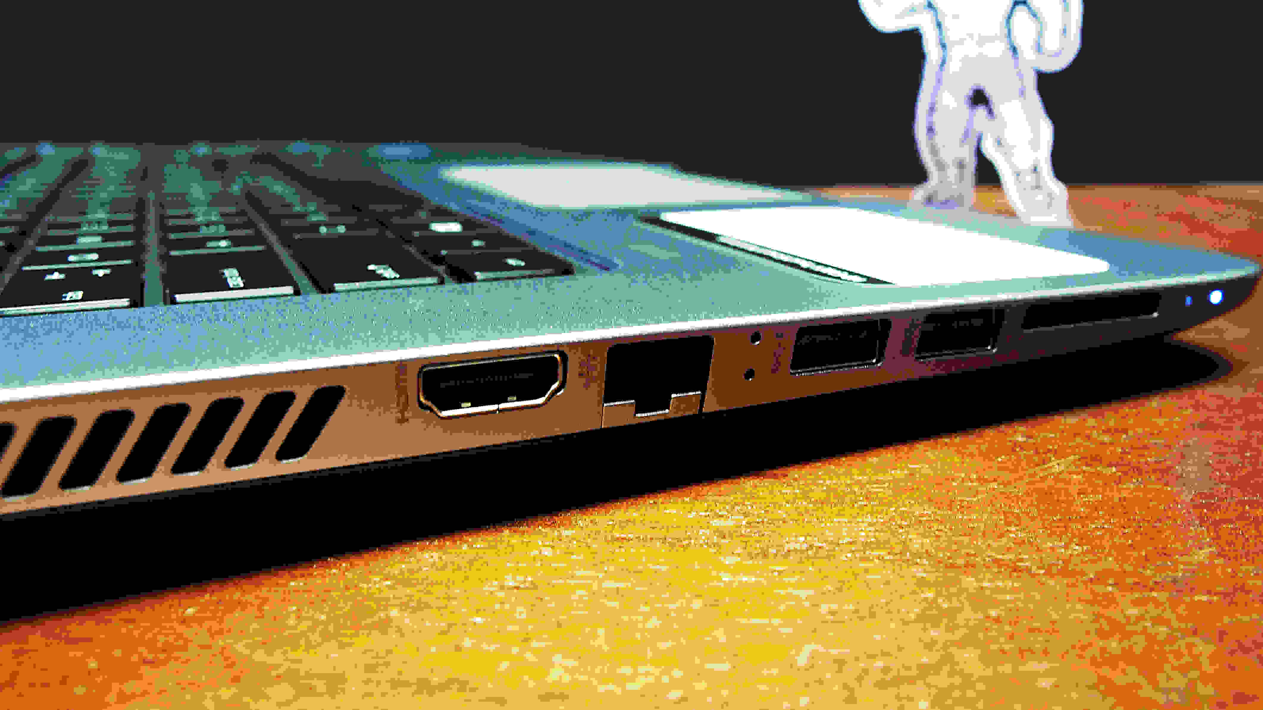 The left side of the 17-inch HP Envy includes an HDMI output, an ethernet jack, two USB 3.0 slots, and an SD card reader.