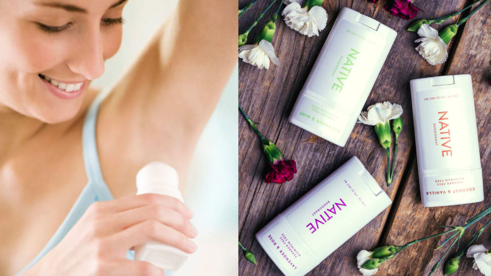 On the left: A woman is applying deodorant to her armpit. On the right: Three sticks of native deodorant  are surrounded by flowers