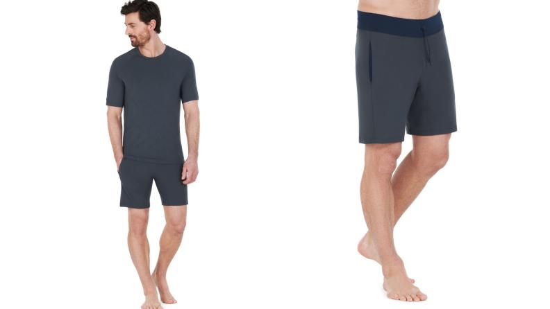 On left, model wearing navy blue Dagsmejan shorts. On right, close up of model wearing navy blue Dagsmejan shorts.