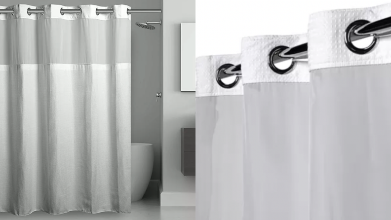 A gray and white shower curtain.