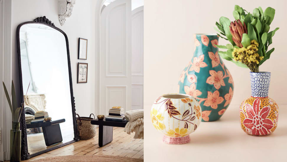 left: mirror against wall, right: colorful vases