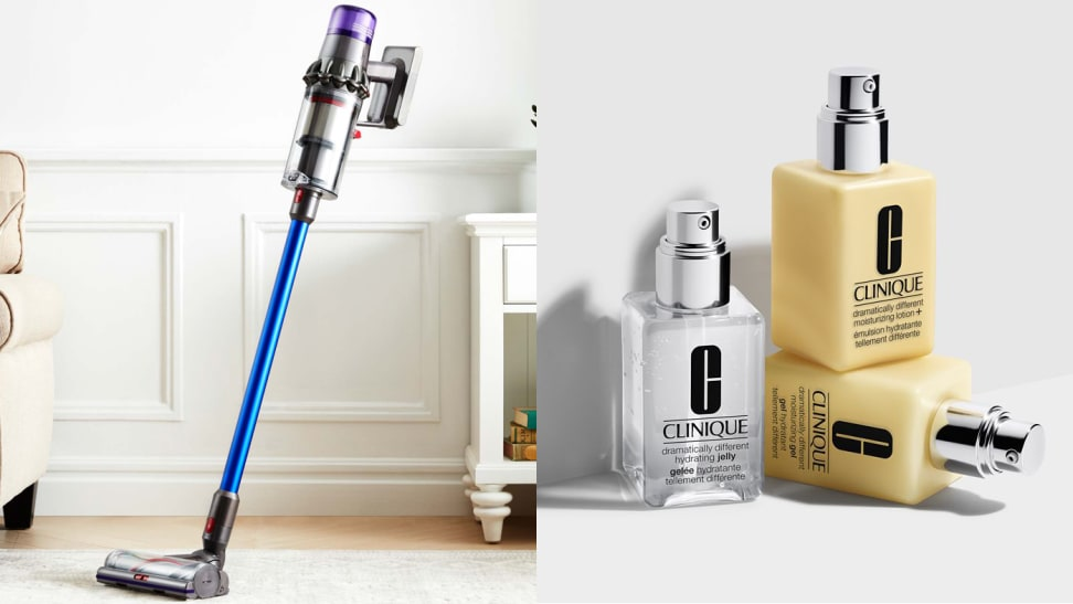 Left: dyson vacuum standing up on carpet, Right: clinique yellow moisturizers stacked on one another