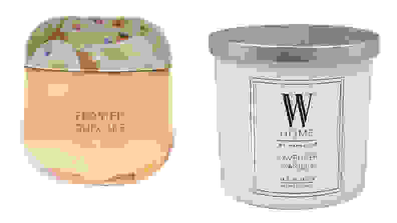 A split image of two candles from Bed Bath and Beyond, one of the best places to buy candles online.