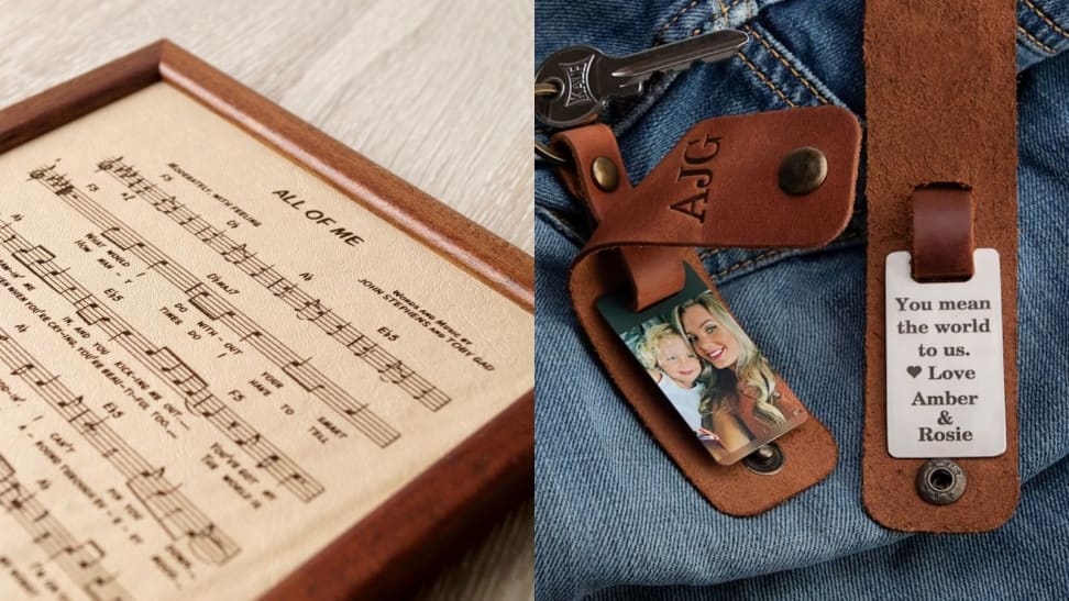 Left: Leather Sheet Music; Right: Leather Keychain