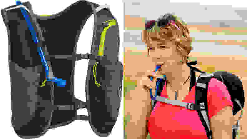 An image of a Camelbak vest and a woman wearing a Camelbak vest while exercising.