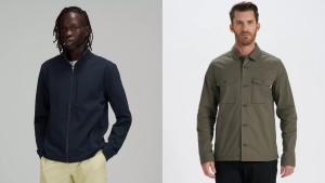Man wearing blue athletic jacket, man wearing Vuori jacket.
