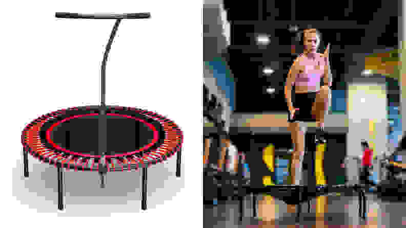 An image of a Bellicon rebounder next to an image of a woman exercising on a rebounder.