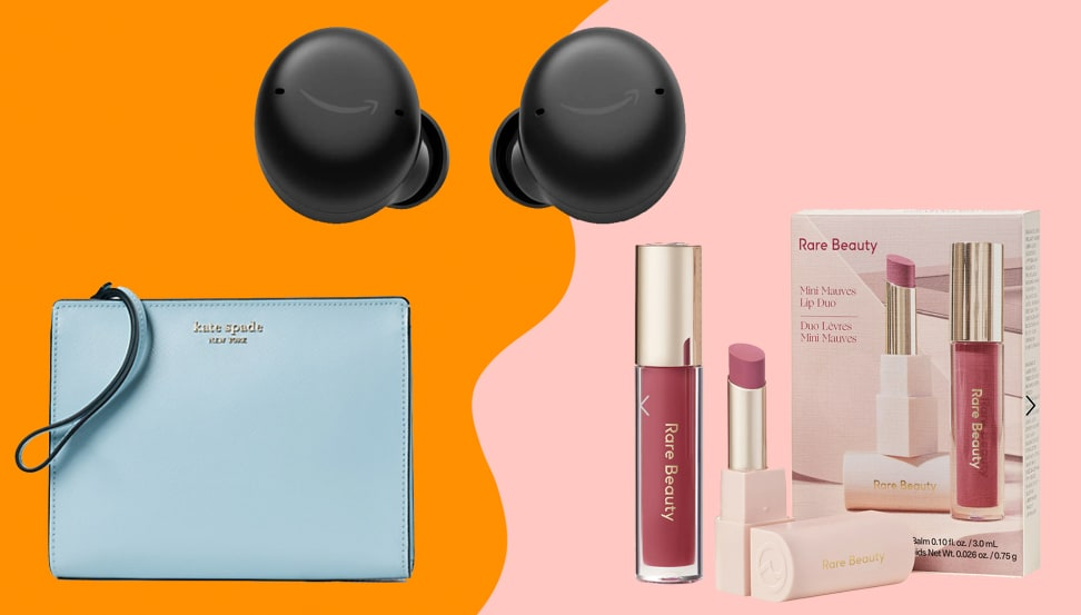 light blue wristlet, black earbuds and lip balm duo on an orange/pink background.