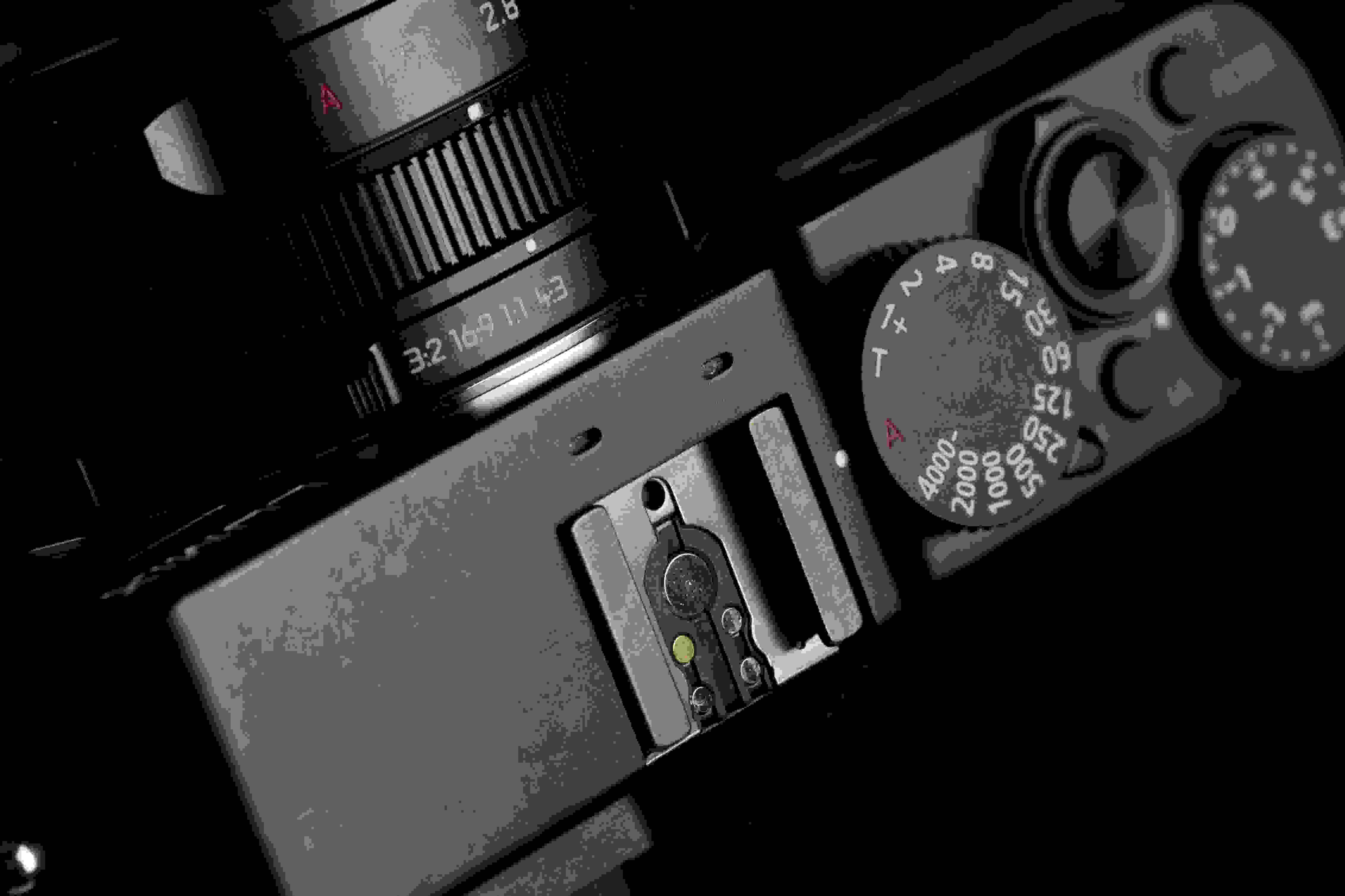 A photograph of the Panasonic Lumix LX100's hot shoe.
