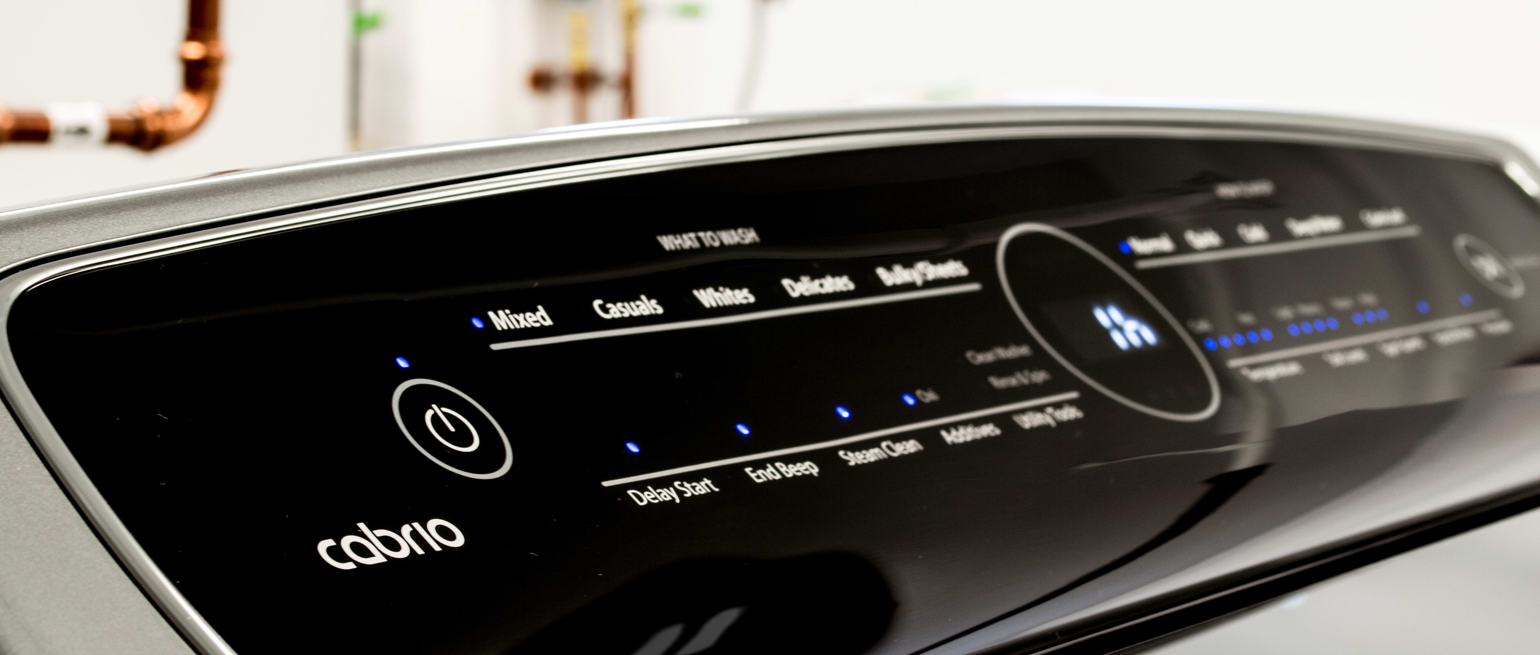 The intuitive touch controls separate the control panel into what to wash and how to wash.