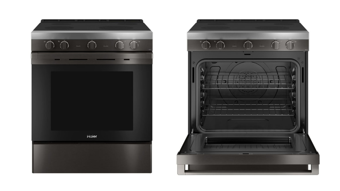 Left: A black stainless steel electric range against a white background. Right: That same range with the oven door open.