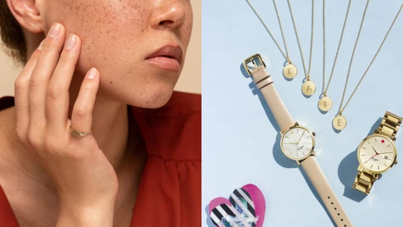 Mejuri Signet Ring / Kate Spade Initial Necklace