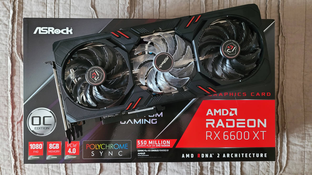 A graphics card on top of a box