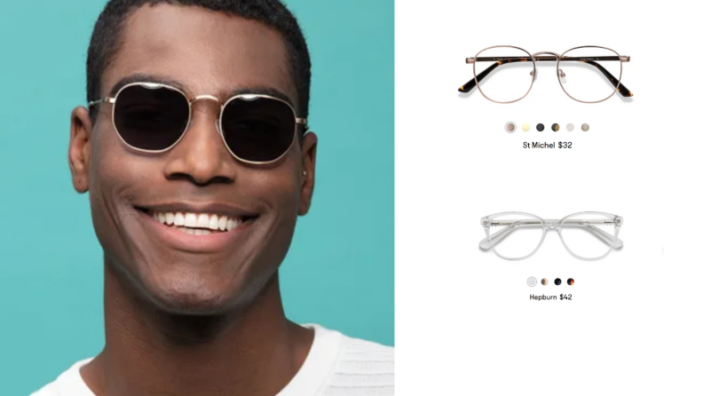 An image of a man wearing sunglasses next to two pairs of glasses with their names beneath them