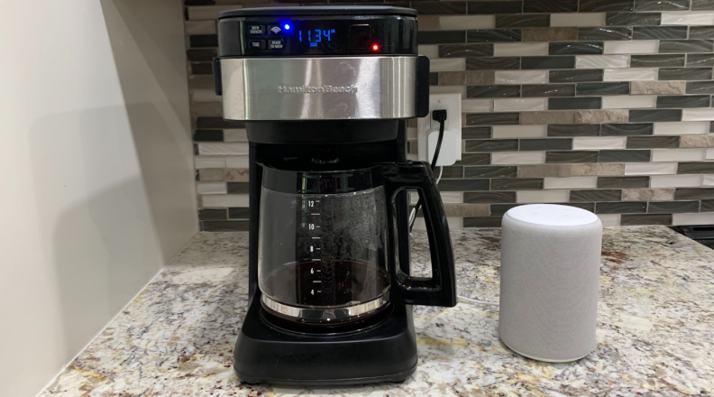 Hamilton Beach Works with Alexa Smart Coffee Maker sits on a countertop in the kitchen