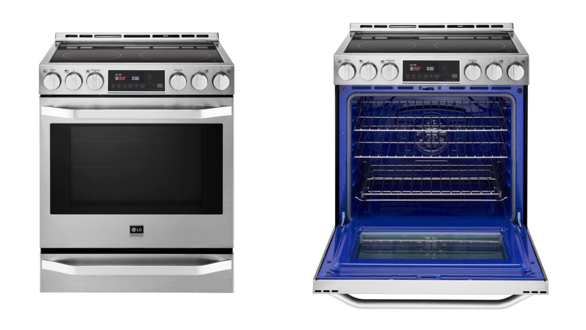 A side by side image of an electric range with its door open, and one with it closed.