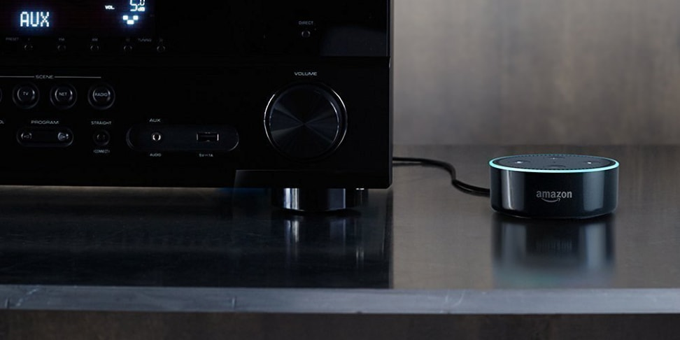 The Echo Dot can connect to a home stereo, has Alexa integrated, and costs less than $50