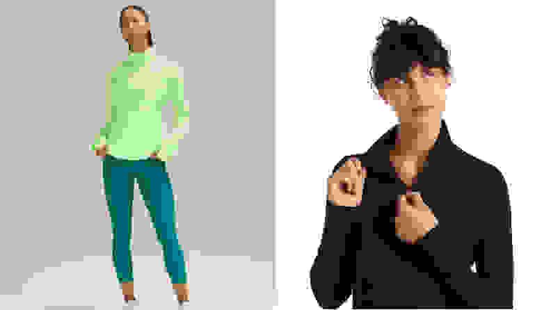 left: woman wearing green lululemon goal smasher jacket. right: woman wearing black icebreaker jacket.