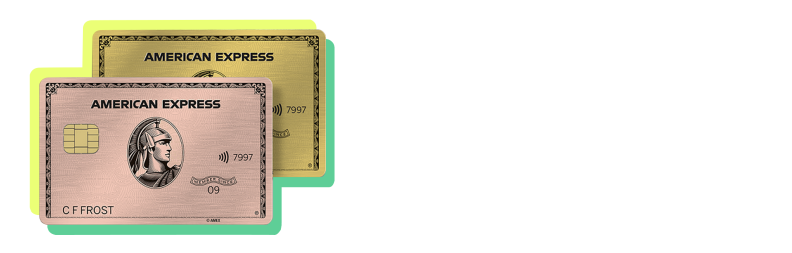 A rose gold and gold American Express Gold Cards with a yellow and green border
